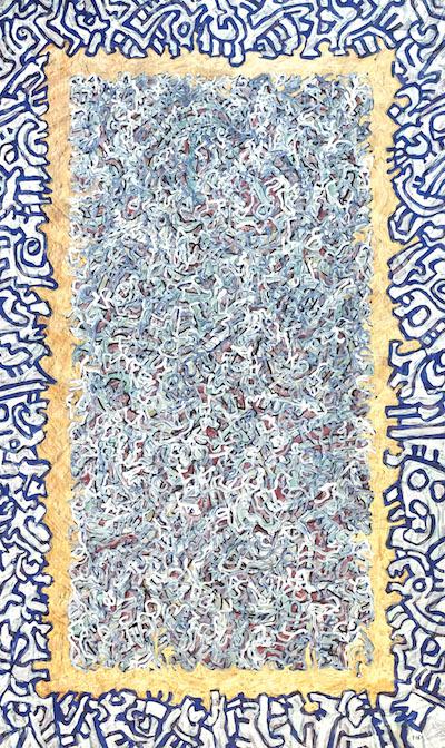 cavadore-oeuvre-contemporain-peinture-papier-dorée-bleue-artiste