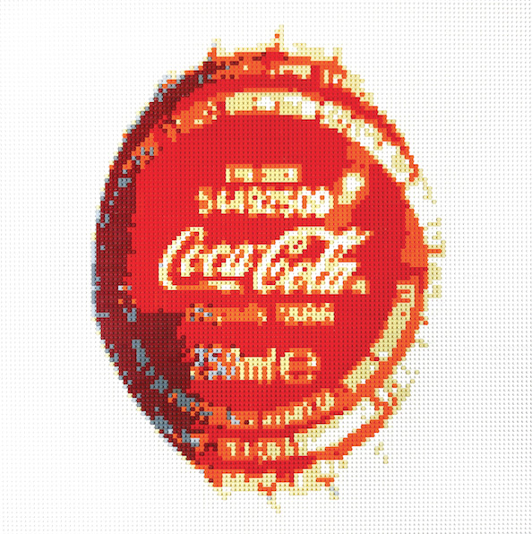 Artiste-Oeuvre-Lenz-Lego-Art-Contemporain-Coca-Cola-Capsule-Bouteille-Pop-Art-Icone-Paris-Biarritz-France