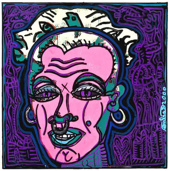 Oeuvre-Robert-Combas-Marylin-Vache-Peinture-Toile-Art-Contemporain-Figuration-Libre-Collection-Biarritz-Bouscayrol