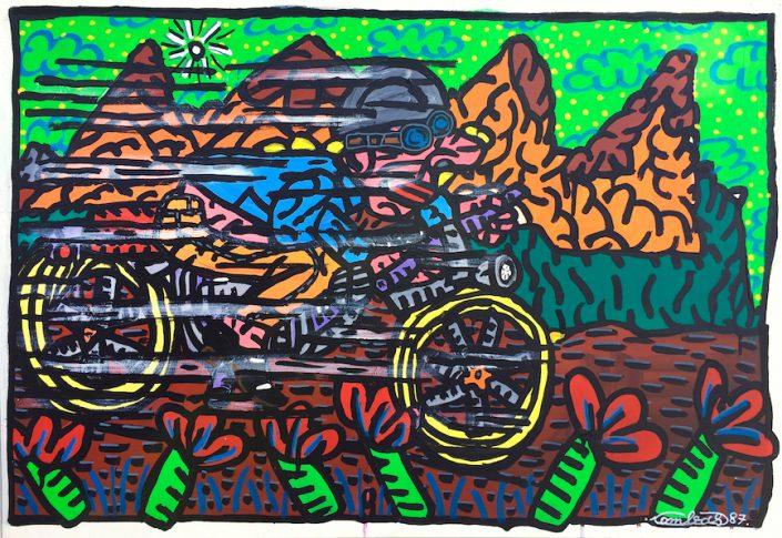 Oeuvre-Robert-Combas-Paysage-Moto-Fleur-Montagne-Ciel-Nuage-Coloré-Art-Contemporain-Peinture-Toile-Unique-80