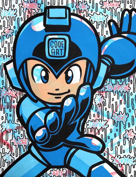 Speedy-Graphito-Street-Art-Megaman-Oeuvre-Manga-Video-Game-Street-Art-Contemporain-Peinture