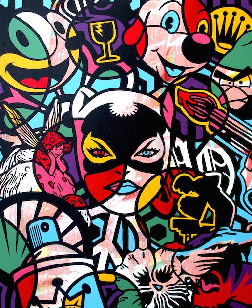 Oeuvre-Toile-Speedy-Graphito-Catwoman-Pif-Peace-Logo-Bubbles-Art-Contemporain-Paris-Biarritz-Street-Contemporain