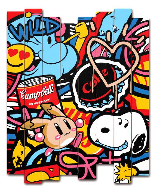 Speedy Graphito-Oeuvre-Street-Art-Popeye-Warhol-Coca-Snoopy-Blanche-Neige-Palissade-Bois-Paris