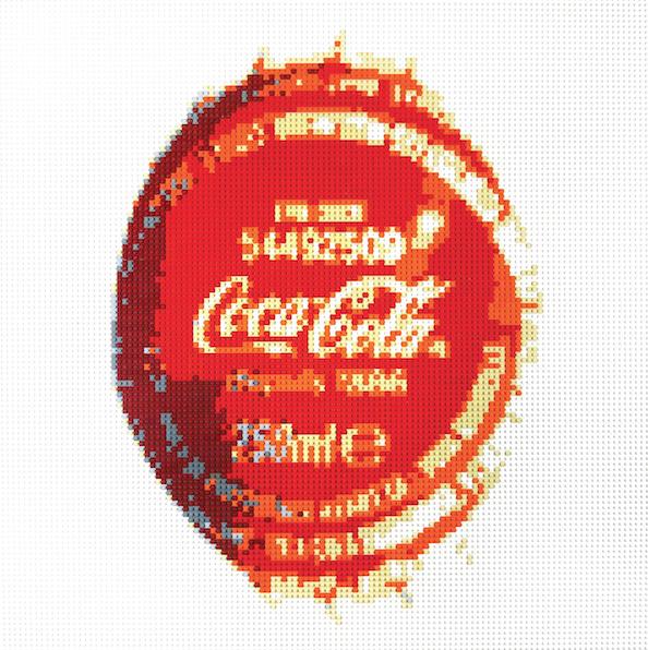 Artiste-Oeuvre-Lenz-Lego-Art-Contemporain-Coca-Cola-Capsule-Bouteille-Pop-Art-Icone-Paris-Biarritz-France