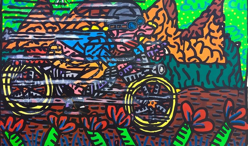 Robert-Combas-Art-Contemporain-Peinture-Toile-Oeuvre-1987-90-Moto-Fleur