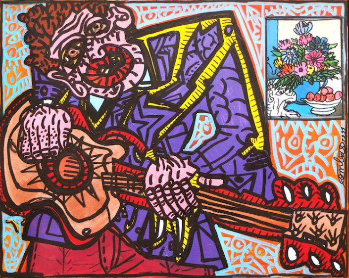 Robert-Combas-Peinture-Musicien-Guitare-Orchestre-Personnage-Rock-Figuration-Libre-90